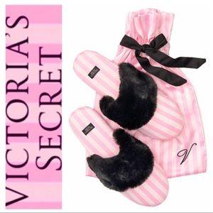 NEW VICTORIA's SECRET Classic Pink Stripe SLIPPERS
